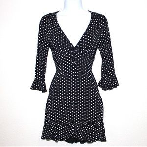 Missguided Black And White Frilly Polka Dot Dress